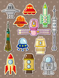 Cartoon rocket stickers Royalty Free Stock Photos