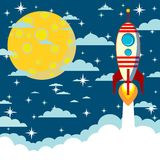 Cartoon rocket takes off, vector illustration Royalty Free Stock Photo