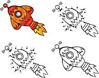 Cartoon rocket. Vector illustration. Coloring and dot to dot gam Royalty Free Stock Photography
