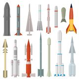 Cartoon Rocket Weapon Icon Set Different Type. Vector. Cartoon Rocket Weapon Icon Set Different Type Aerospace Military Warhead Concept Element Flat Design Style vector illustration