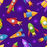 Cartoon rockets 3D vector seamless pattern Royalty Free Stock Image