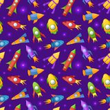 Cartoon rockets 3D vector seamless pattern Stock Photography