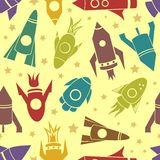 Cartoon rockets vector seamless pattern Royalty Free Stock Image