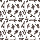 Cartoon rockets vector seamless pattern Royalty Free Stock Images