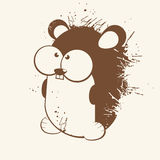 Cartoon Rodent. Illustration in brown with big eyes in a grunge design, isolated on an off-white background Royalty Free Stock Images