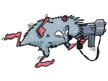Cartoon rodent with a big gun Stock Photos