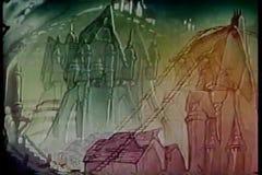 Cartoon of rollercoaster ride through fantasy world stock video footage