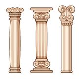 Cartoon Roman and Greek Columns, for interior and exterior. Cartoon column building antique roman decor decoration  old museum interior exterior Stock Photos