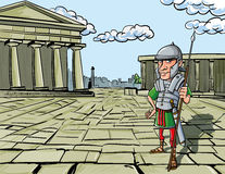 Cartoon Roman Legionary. Standing in front of a Roman temple Stock Photo