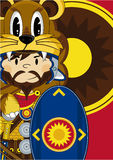 Cartoon Roman Soldier with Shield Royalty Free Stock Photography