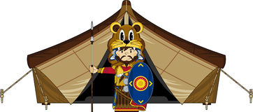 Cartoon Roman Soldier and Tent Royalty Free Stock Photos