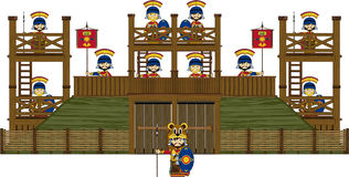 Cartoon Roman Soldiers at Fort royalty free illustration