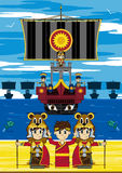 Cartoon Roman Soldiers and Ships vector illustration