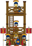 Cartoon Roman Soldiers at Tower vector illustration