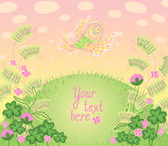 Cartoon romantic card in vector. Colorful background a place for. Your text. Floral wallpaper with bird Stock Images