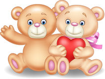 Cartoon romantic couple of teddy bears Stock Photography