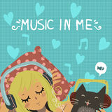 Cartoon romantic illustration of young girl. Vector cartoon flat young girl with cute funny cat listening music in headphones. For ui, web games, tablets Royalty Free Stock Image