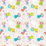 Cartoon romantic seamless pattern with angels Royalty Free Stock Photos