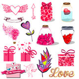 Cartoon romantic signs set for love and Valentines Day symbols. Vector Stock Photography
