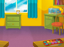 Cartoon room with animals - illustration for the children Royalty Free Stock Images