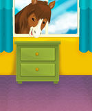 Cartoon room with animals - illustration for the children Stock Images
