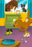 Cartoon room with animals - illustration for the children Royalty Free Stock Photography