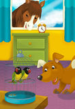 Cartoon room with animals - illustration for the children Royalty Free Stock Image