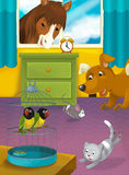 Cartoon room with animals - illustration for the children Stock Photos