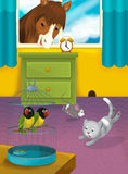 Cartoon room with animals - illustration for the children Stock Photography