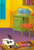 Cartoon room with animals - illustration for the children Stock Image