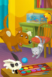 Cartoon room with animals - illustration for the children Royalty Free Stock Photos