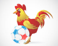 Cartoon Rooster as symbol of France with ball Stock Photography