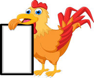Cartoon rooster with blank sign Stock Photography