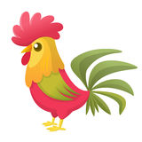 Cartoon rooster with bright feathers on the tail and a red crest. Vector illustration. Cartoon rooster with bright feathers on the tail and a red crest. Vector Royalty Free Stock Photo