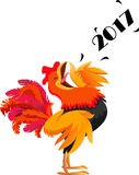 Cartoon rooster crowing symbol of 2017 new year. Vector illustration of cartoon rooster crowing symbol of 2017 new year  on white Royalty Free Stock Photography
