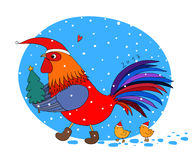 Cartoon rooster cute, little chickens and Christmas tree. Stock Image