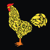 Cartoon Rooster with Golden feathers. Cock the symbol of 2017 Royalty Free Stock Photography