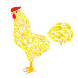 Cartoon Rooster with Golden feathers. On a white background. Cock the symbol of 2017 Stock Photo