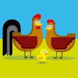 Cartoon Rooster, Hen And Chick With Color Stock Photo