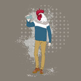 Cartoon Rooster Hipster Taking Selfie Photo Chinese Traditional 2017 New Year Symbol. Vector Illustration Stock Image