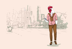 Cartoon Rooster Hipster Using Cell Phone Chatting Over Modent City Skyscraper Traditional Asian 2017 New Year Symbol. Vector Illustration Royalty Free Stock Photos