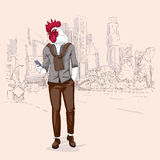 Cartoon Rooster Hipster Using Cell Phone Chatting Over Modent City Skyscraper Traditional Asian 2017 New Year Symbol. Vector Illustration Royalty Free Stock Image