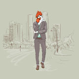 Cartoon Rooster Hipster Wearing Business Suit Over Modent City Skyscraper Traditional Asian 2017 New Year Symbol. Vector Illustration stock illustration