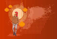 Cartoon Rooster Hipster Wearing Jeans Over Chinese Traditional Background Happy 2017 New Year Symbol. Vector Illustration Stock Photo