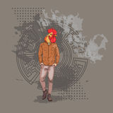 Cartoon Rooster Hipster Wearing Jeans Over Chinese Traditional Background Happy 2017 New Year Symbol. Vector Illustration Stock Images
