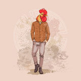 Cartoon Rooster Hipster Wearing Jeans Over Chinese Traditional Background Happy 2017 New Year Symbol. Vector Illustration Stock Photos