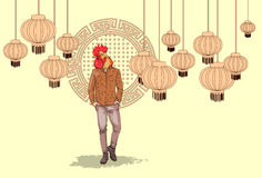 Cartoon Rooster Hipster Wearing Jeans Over Chinese Traditional Background Happy 2017 New Year Symbol Royalty Free Stock Image