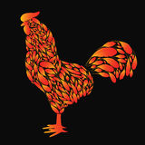 Cartoon Rooster with red fire feathers. On a black background. Cock the symbol of 2017 Royalty Free Stock Photo