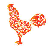 Cartoon Rooster with red fire feathers. On a white background. Cock the symbol of 2017 Stock Images