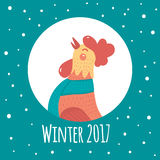 Cartoon rooster in round frame. Symbol of the year. Winter flat illustration.Blue gradient background Royalty Free Stock Images